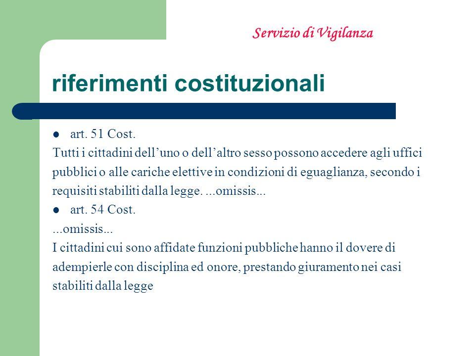 riferimenti costituzionali art. 51 Cost. Tutti i cittadini delluno o dellaltro sesso possono accedere agli uffici pubblici o alle cariche elettive in