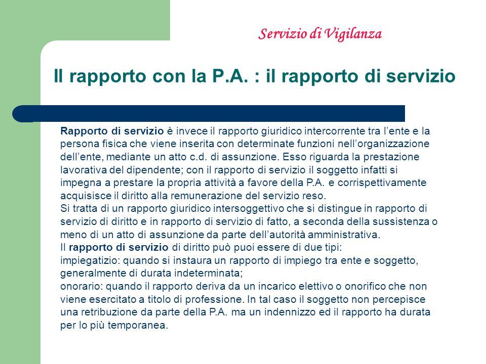 Il rapporto con la P.A. : il rapporto di servizio Rapporto di servizio è invece il rapporto giuridico intercorrente tra lente e la persona fisica che