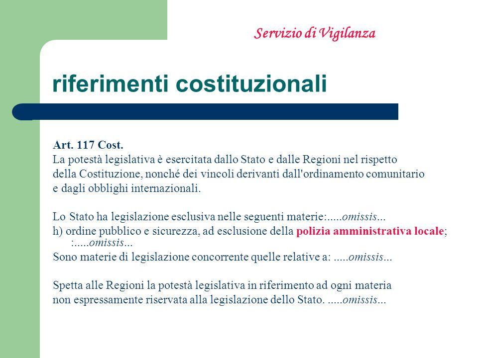 riferimenti costituzionali Art. 117 Cost. La potestà legislativa è esercitata dallo Stato e dalle Regioni nel rispetto della Costituzione, nonché dei