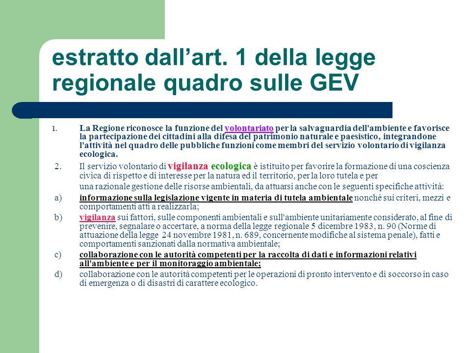 estratto dallart. 1 della legge regionale quadro sulle GEV volontariato 1. La Regione riconosce la funzione del volontariato per la salvaguardia dell'