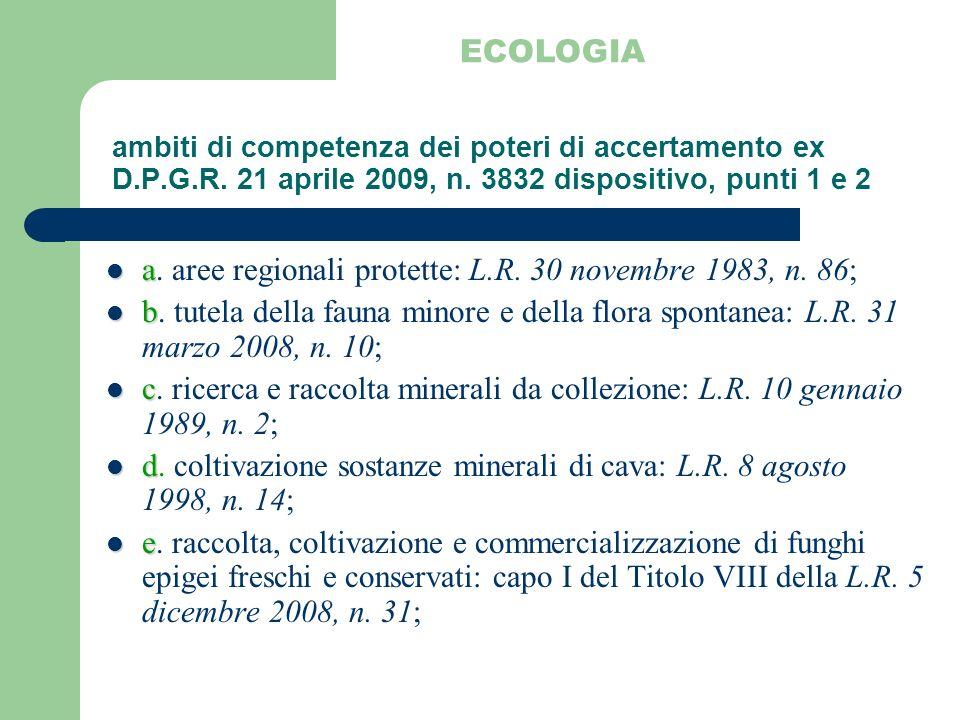ambiti di competenza dei poteri di accertamento ex D.P.G.R. 21 aprile 2009, n. 3832 dispositivo, punti 1 e 2 a a. aree regionali protette: L.R. 30 nov