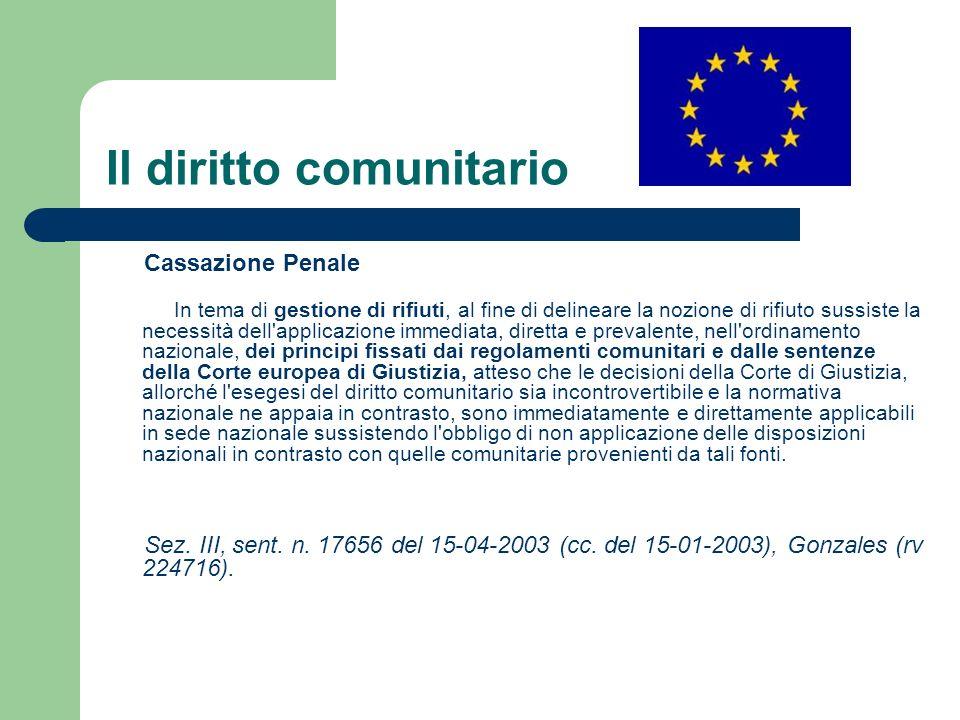 Il diritto comunitario Cassazione Penale In tema di gestione di rifiuti, al fine di delineare la nozione di rifiuto sussiste la necessità dell'applica