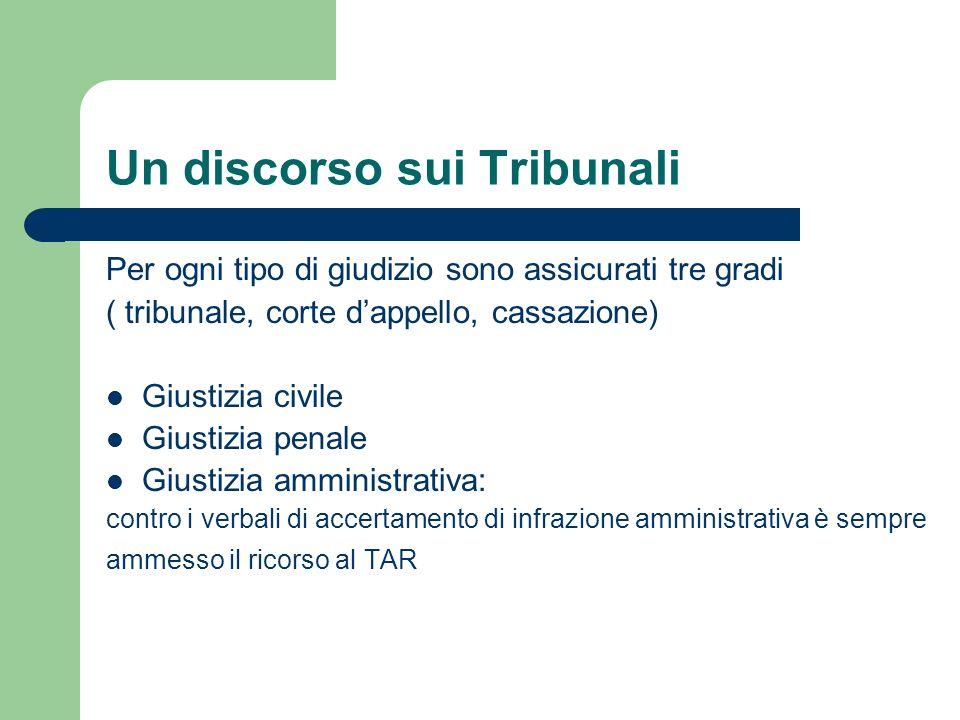 Un discorso sui Tribunali Per ogni tipo di giudizio sono assicurati tre gradi ( tribunale, corte dappello, cassazione) Giustizia civile Giustizia pena