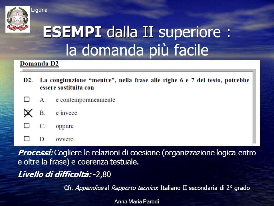 USR Liguria Anna Maria Parodi ESEMPI dalla II : ESEMPI dalla II superiore : la domanda più facile Processi: Cogliere le relazioni di coesione (organizzazione logica entro e oltre la frase) e coerenza testuale.