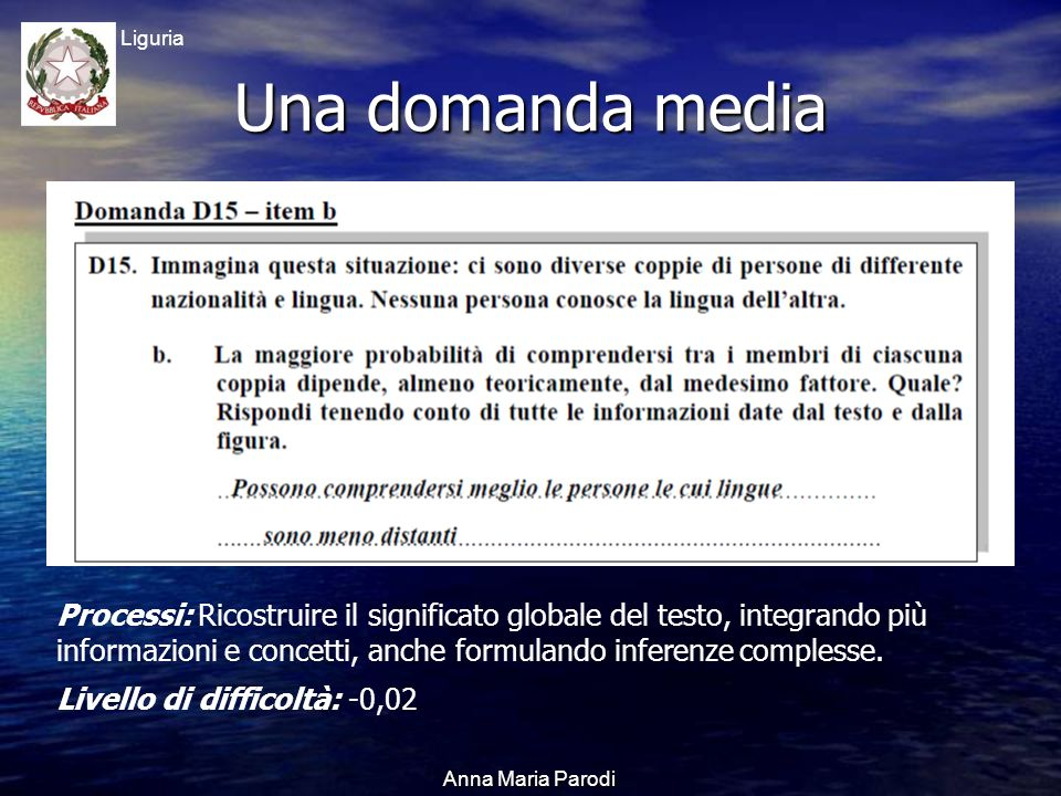 USR Liguria Anna Maria Parodi Una domanda media Processi: Ricostruire il significato globale del testo, integrando più informazioni e concetti, anche formulando inferenze complesse.