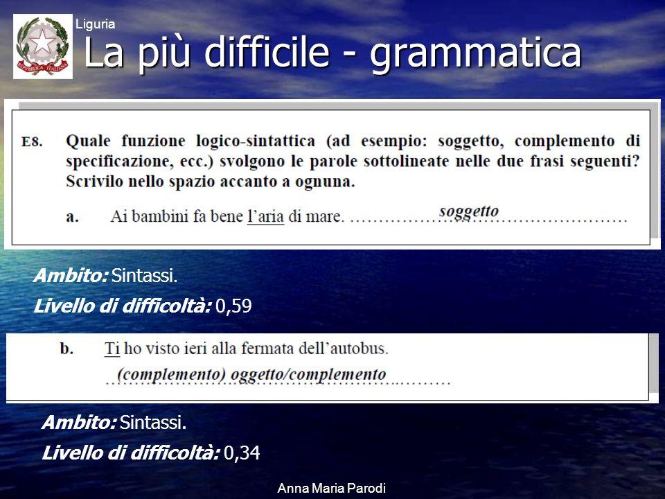 USR Liguria Anna Maria Parodi La più difficile - grammatica Ambito: Sintassi.