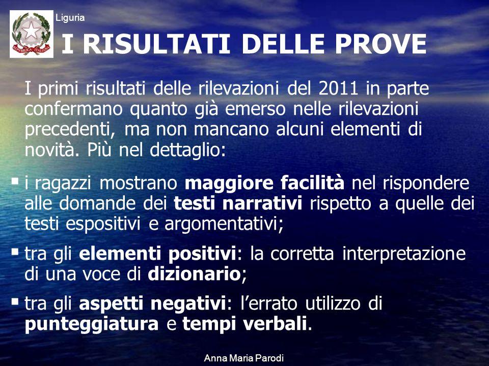 USR Liguria Anna Maria Parodi I primi risultati delle rilevazioni del 2011 in parte confermano quanto già emerso nelle rilevazioni precedenti, ma non mancano alcuni elementi di novità.