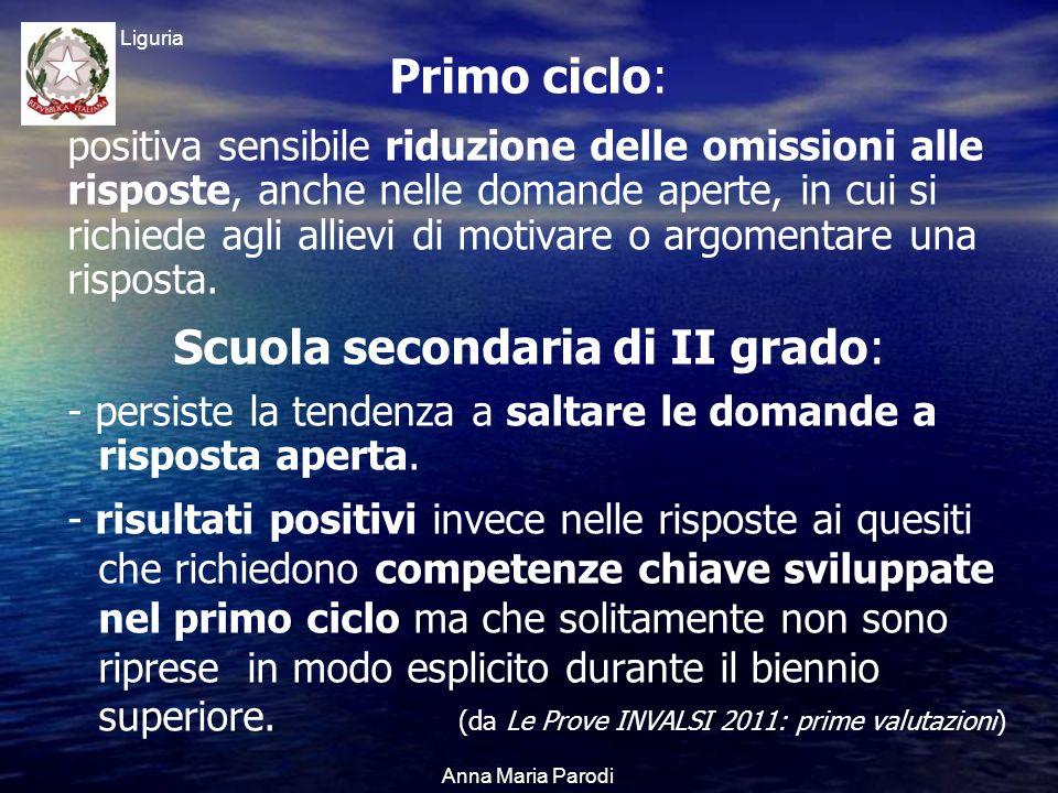 USR Liguria Anna Maria Parodi Primo ciclo: positiva sensibile riduzione delle omissioni alle risposte, anche nelle domande aperte, in cui si richiede agli allievi di motivare o argomentare una risposta.