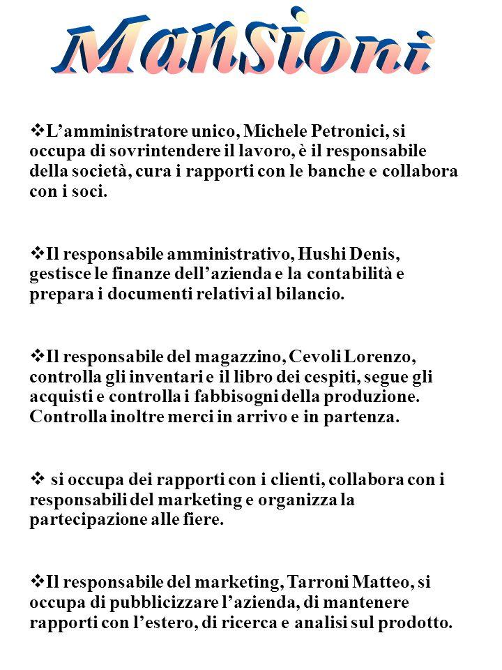 Lamministratore unico, Michele Petronici, si occupa di sovrintendere il lavoro, è il responsabile della società, cura i rapporti con le banche e collabora con i soci.
