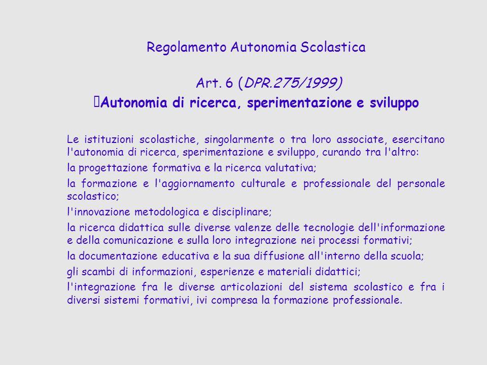 Regolamento Autonomia Scolastica Art. 6 (DPR.275/1999) Autonomia di ricerca, sperimentazione e sviluppo Le istituzioni scolastiche, singolarmente o tr