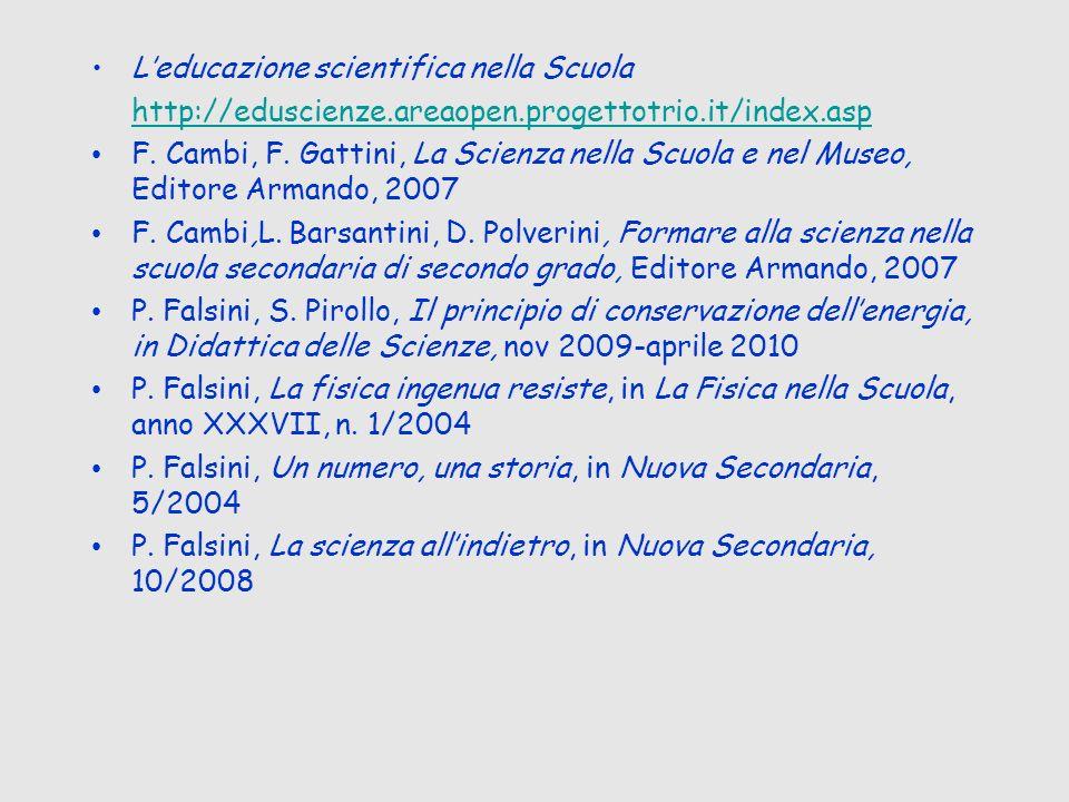 Leducazione scientifica nella Scuola http://eduscienze.areaopen.progettotrio.it/index.asp F. Cambi, F. Gattini, La Scienza nella Scuola e nel Museo, E