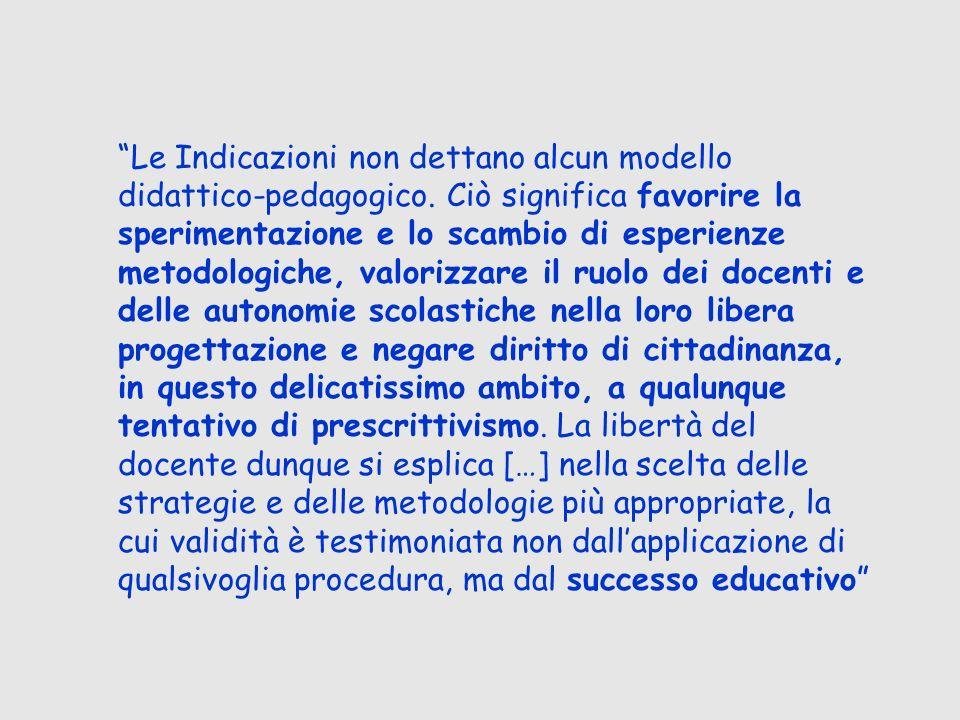 Le Indicazioni non dettano alcun modello didattico-pedagogico. Ciò significa favorire la sperimentazione e lo scambio di esperienze metodologiche, val