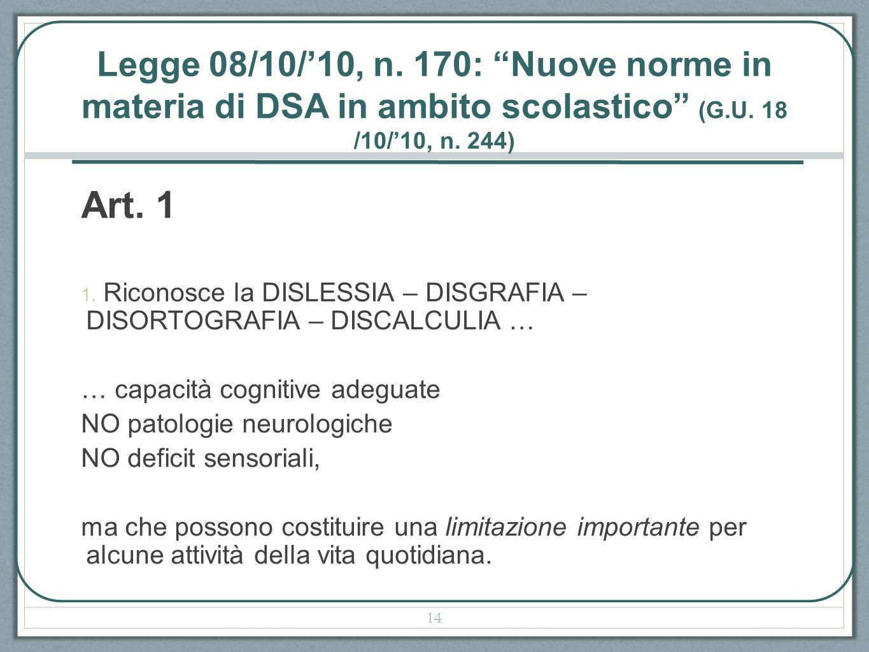 Legge 08/10/10, n. 170: Nuove norme in materia di DSA in ambito scolastico (G.U. 18 /10/10, n. 244) Art. 1 1. Riconosce la DISLESSIA – DISGRAFIA – DIS