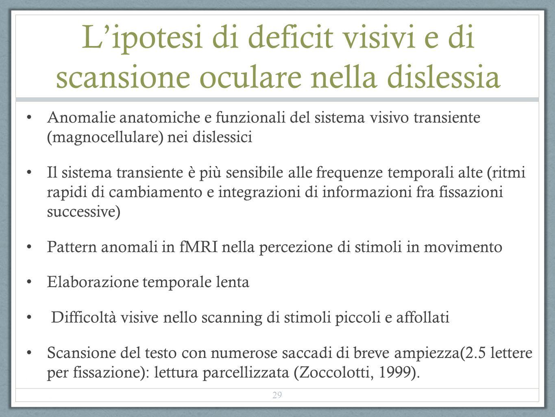 Lipotesi di deficit visivi e di scansione oculare nella dislessia Anomalie anatomiche e funzionali del sistema visivo transiente (magnocellulare) nei