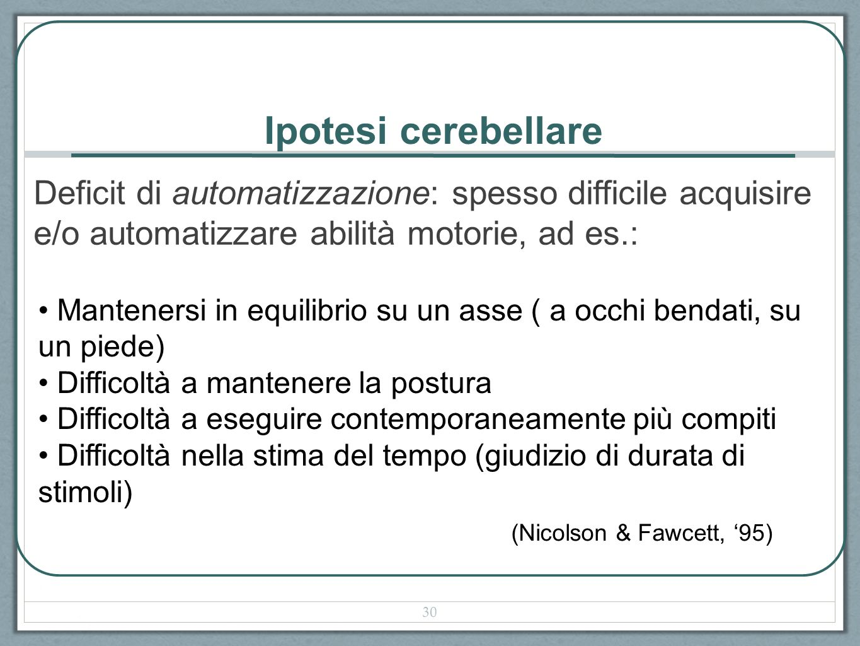 Ipotesi cerebellare Deficit di automatizzazione: spesso difficile acquisire e/o automatizzare abilità motorie, ad es.: (Nicolson & Fawcett, 95) Manten