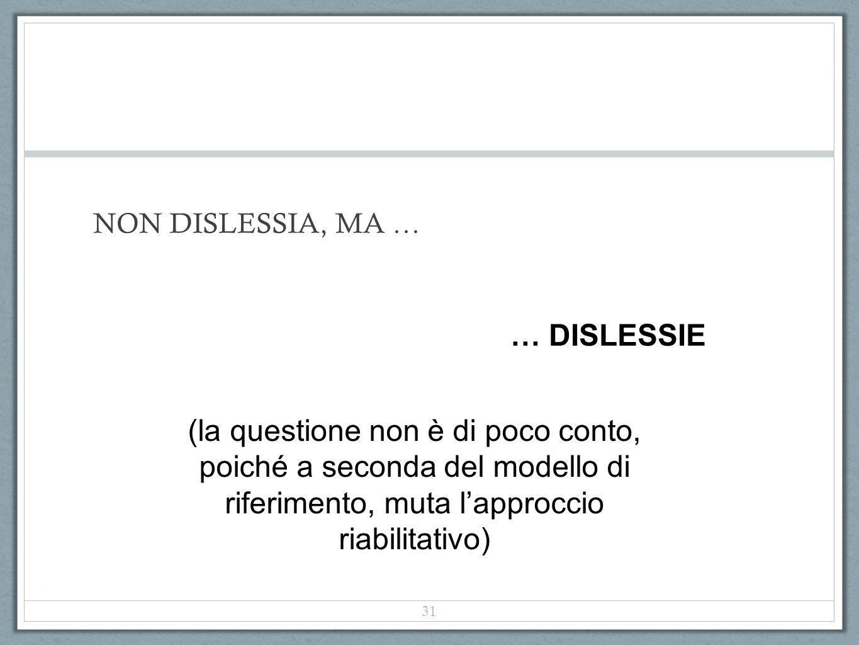 NON DISLESSIA, MA … (la questione non è di poco conto, poiché a seconda del modello di riferimento, muta lapproccio riabilitativo) … DISLESSIE 31