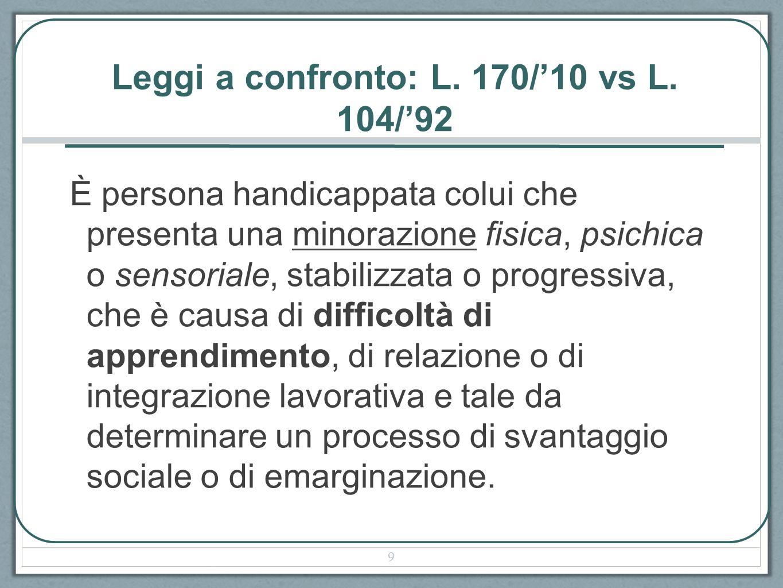 Leggi a confronto: L. 170/10 vs L. 104/92 È persona handicappata colui che presenta una minorazione fisica, psichica o sensoriale, stabilizzata o prog