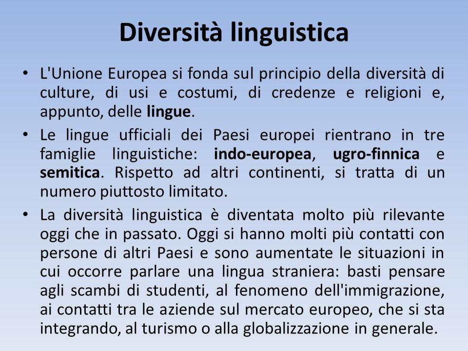 Diversità linguistica L'Unione Europea si fonda sul principio della diversità di culture, di usi e costumi, di credenze e religioni e, appunto, delle