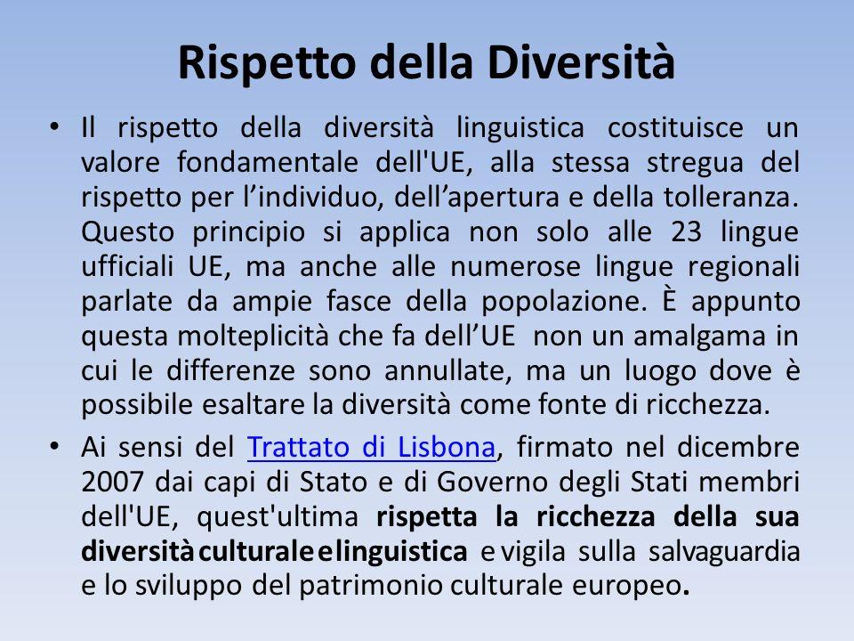 Rispetto della Diversità Il rispetto della diversità linguistica costituisce un valore fondamentale dell'UE, alla stessa stregua del rispetto per lind