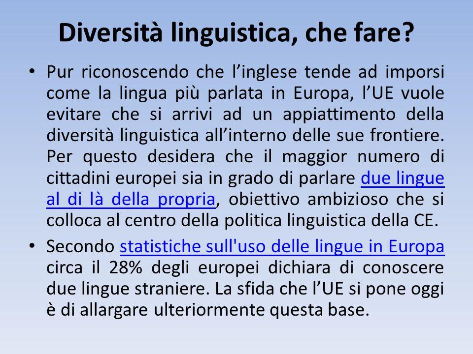 Diversità linguistica, che fare? Pur riconoscendo che linglese tende ad imporsi come la lingua più parlata in Europa, lUE vuole evitare che si arrivi