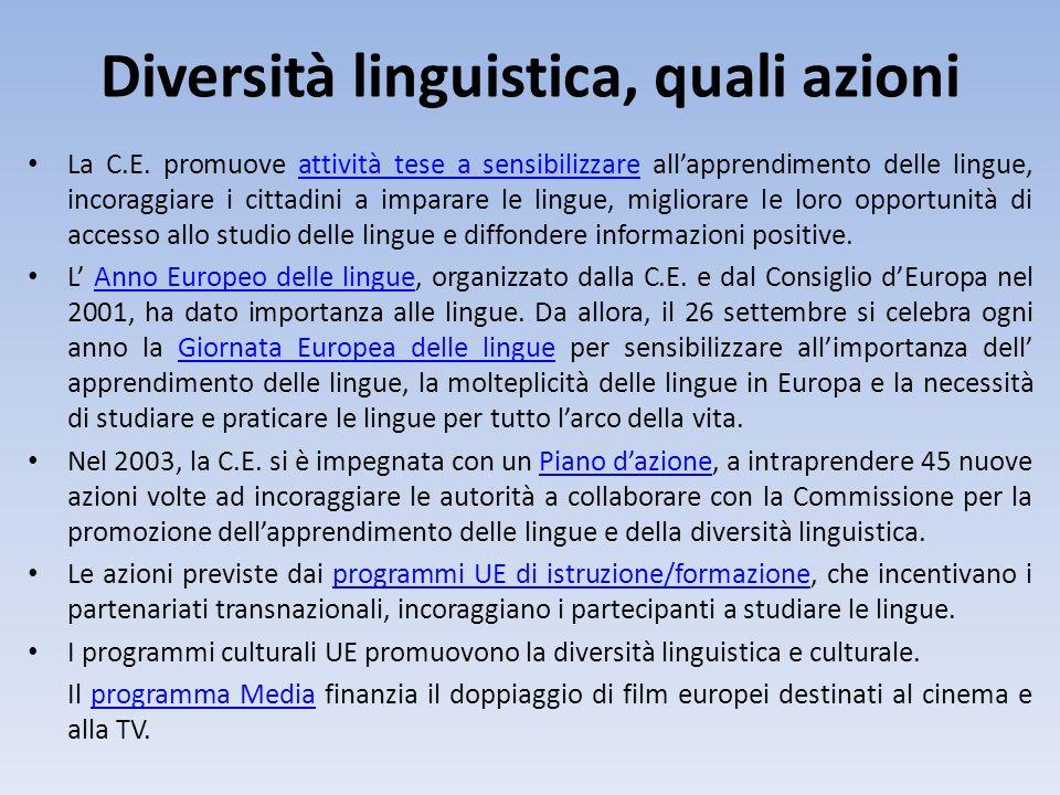 Diversità linguistica, quali azioni La C.E. promuove attività tese a sensibilizzare allapprendimento delle lingue, incoraggiare i cittadini a imparare