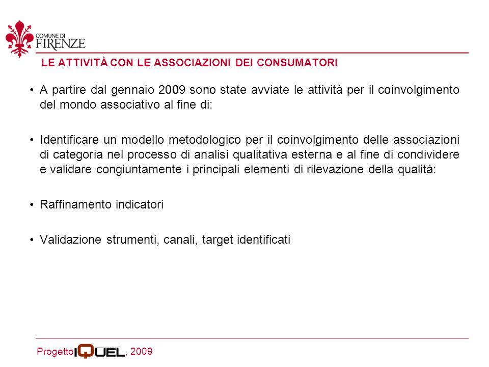 Progetto, 2009 1 - CONTATTO DIRETTO 2 - INVITO A PARTECIPARE AI FOCUS GROUP 3 – REALIZZAZIONE DEI FOCUS GROUP CON PRECISAZIONE DEI CONTRIBUTI DELLASSOCIAZIONE 4 - INVIO DI REPORT E RECEPIMENTO FEEDBACK 5 – INCONTRO DI VALIDAZIONE adesione dellassociazione al progetto identificazione del referente incaricato di seguire le attività dellassociazione in seno al progetto Iquel conferma della partecipazione da parte del referente report di sintesi del Focus Group in cui i contributi del/dei referenti del mondo associativo sono evidenziati documento de Le raccomandazioni emerse restituzione validata del Report, del questionario e del documento Le raccomandazioni emerse a seguito di analisi ed elaborazione del materiale output dellattività precedente viene redatto un documento contenente Le ipotesi di miglioramento del servizio, che, insieme alla versione finale de Le raccomandazioni emerse, è oggetto di condivisione e validazione finale con i referenti del mondo associativo congiuntamente con i Referenti della qualità e del servizio interessato dellEnte LA METODOLOGIA PROPOSTA