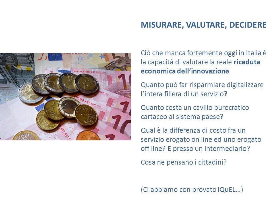 MISURARE, VALUTARE, DECIDERE Ciò che manca fortemente oggi in Italia è la capacità di valutare la reale ricaduta economica dellinnovazione Quanto può far risparmiare digitalizzare lintera filiera di un servizio.