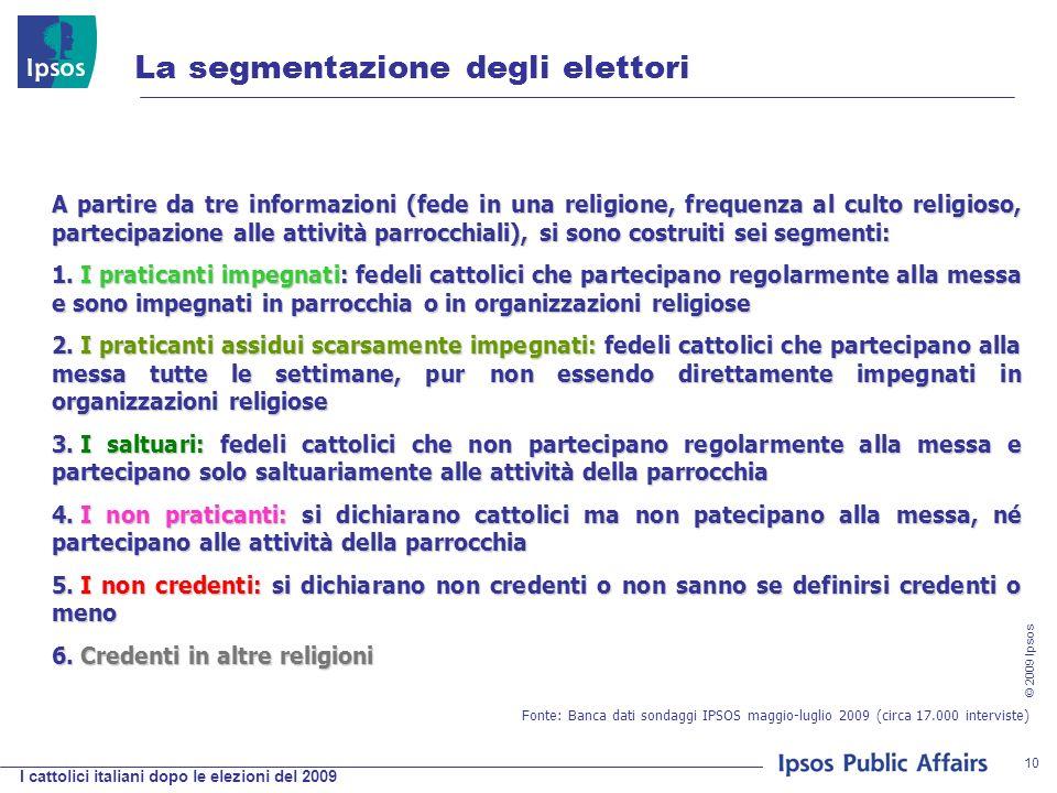 I cattolici italiani dopo le elezioni del 2009 © 2009 Ipsos 10 La segmentazione degli elettori A partire da tre informazioni (fede in una religione, frequenza al culto religioso, partecipazione alle attività parrocchiali), si sono costruiti sei segmenti: 1.