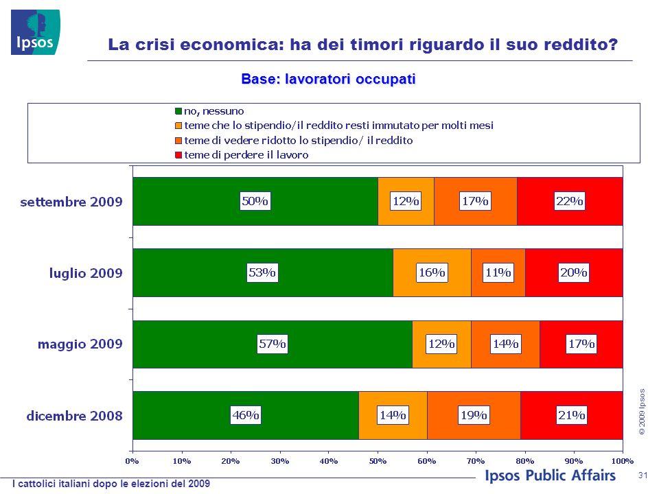 I cattolici italiani dopo le elezioni del 2009 © 2009 Ipsos 31 La crisi economica: ha dei timori riguardo il suo reddito.