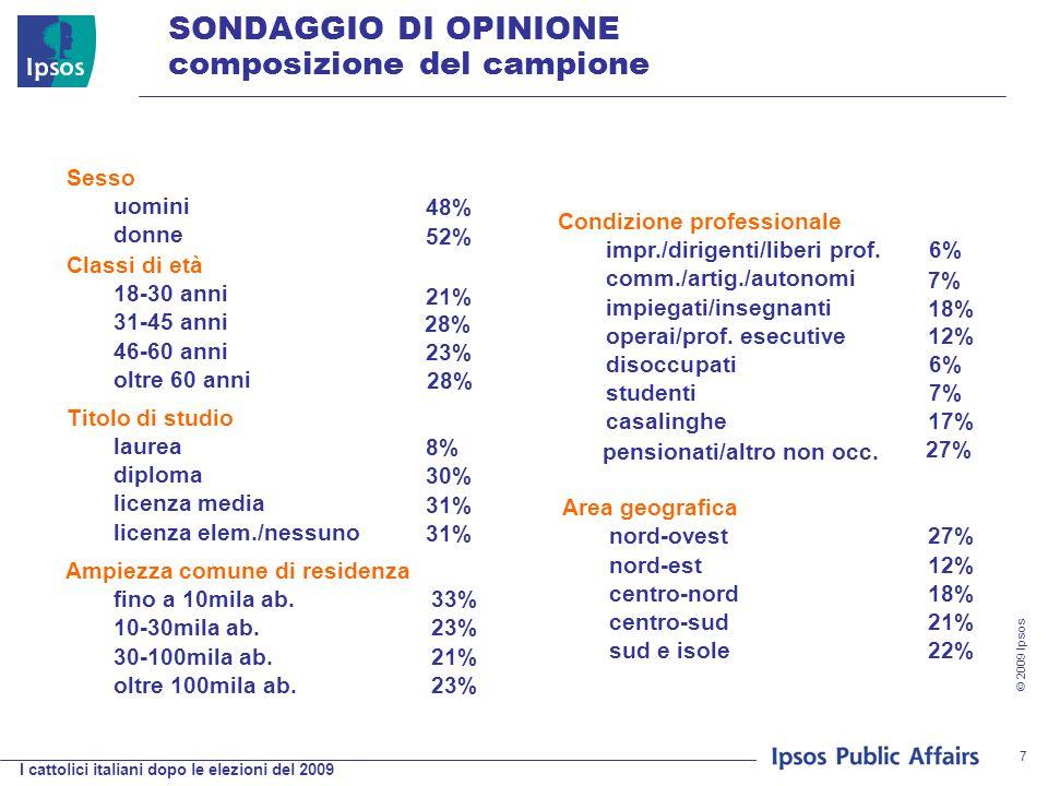 I cattolici italiani dopo le elezioni del 2009 © 2009 Ipsos 7 Sesso Condizione professionale uomini 48% impr./dirigenti/liberi prof.