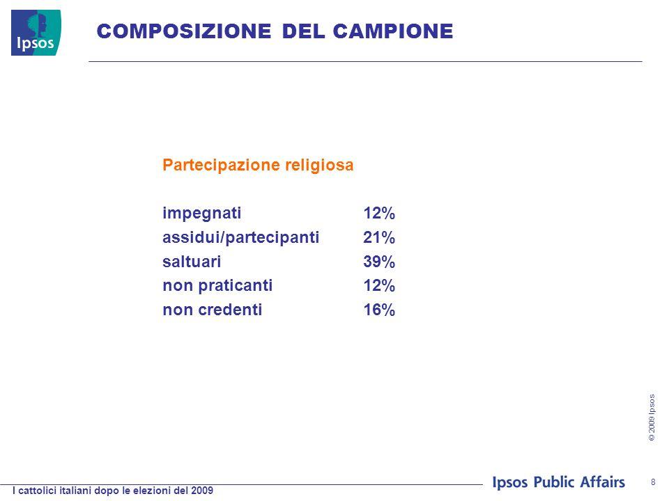 I cattolici italiani dopo le elezioni del 2009 © 2009 Ipsos 8 COMPOSIZIONE DEL CAMPIONE Partecipazione religiosa impegnati12% assidui/partecipanti21% saltuari39% non praticanti12% non credenti16%