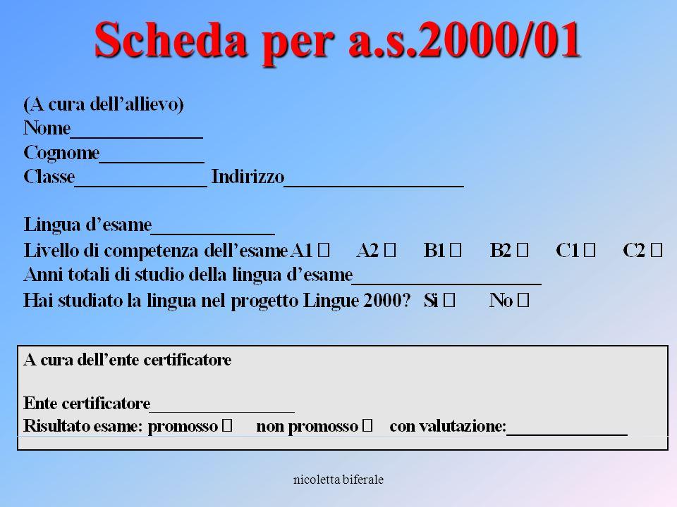 nicoletta biferale Scheda per a.s.2000/01