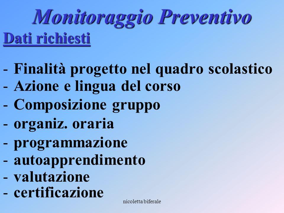 nicoletta biferale Monitoraggio Preventivo Dati richiesti Finalità progetto nel quadro scolastico Azione e lingua del corso Composizione gruppo or