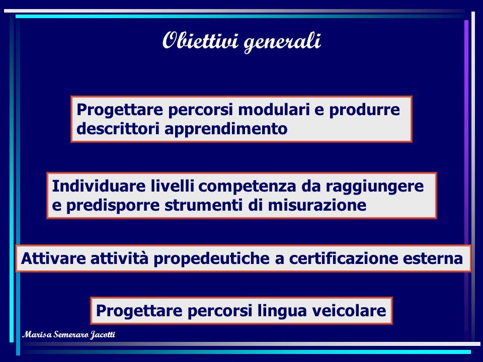 Marisa Semeraro Jacotti Obiettivi generali Progetto Lingue 2000 Familiarizzare con assi portanti progetto Ricorrere a documenti riferimento europei Ge