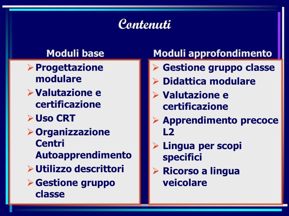 Marisa Semeraro Jacotti Organizzazione corsi Organizzazione modulare base/approfondimento Partecipanti 15-20 sperimentazione + curricolo Moduli di dur