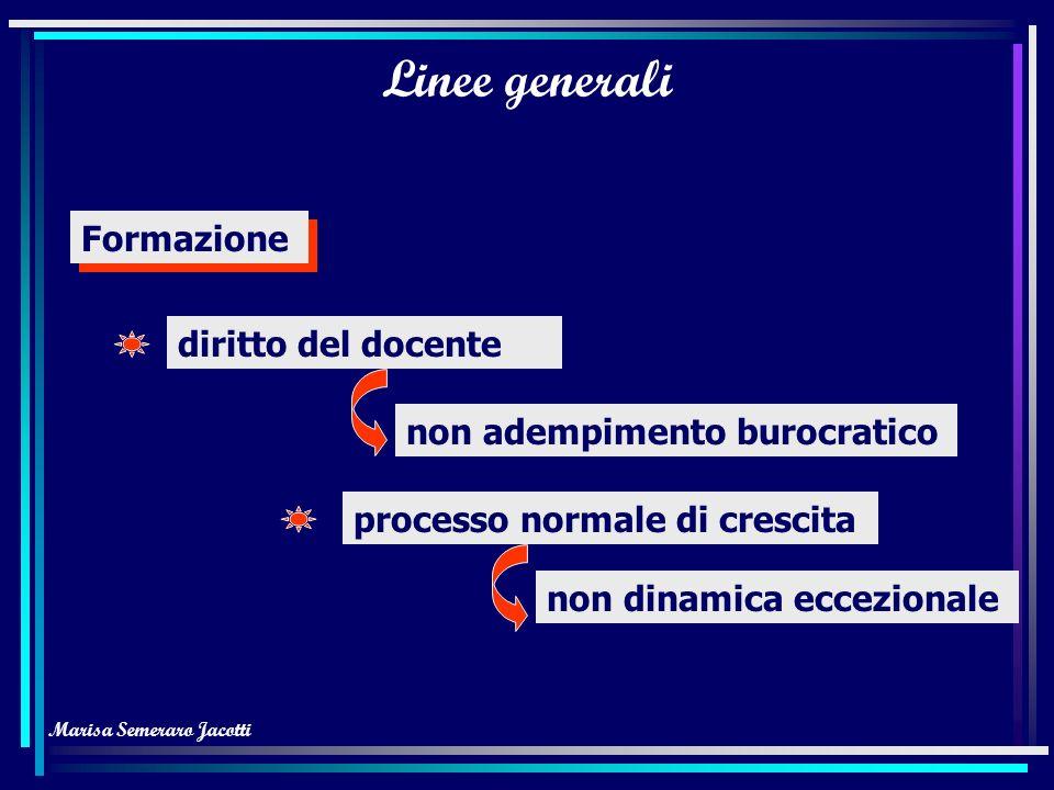 Marisa Semeraro Jacotti Linee generali Formazione diritto del docente non adempimento burocratico processo normale di crescita non dinamica eccezionale
