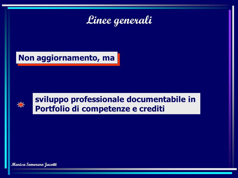 Marisa Semeraro Jacotti Linee generali Non aggiornamento, ma sviluppo professionale documentabile in Portfolio di competenze e crediti