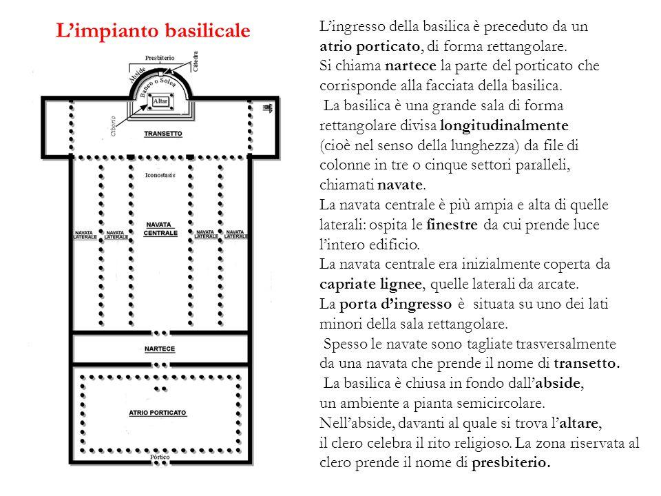 Limpianto basilicale Lingresso della basilica è preceduto da un atrio porticato, di forma rettangolare. Si chiama nartece la parte del porticato che c