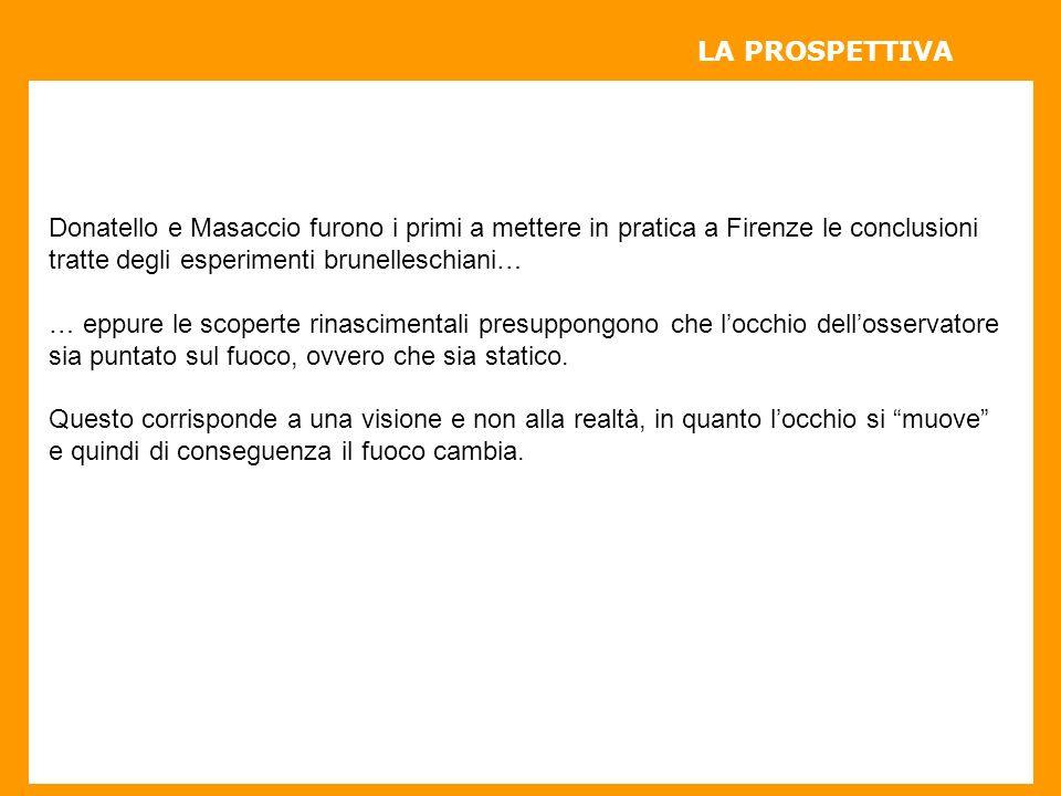 Donatello e Masaccio furono i primi a mettere in pratica a Firenze le conclusioni tratte degli esperimenti brunelleschiani… … eppure le scoperte rinascimentali presuppongono che locchio dellosservatore sia puntato sul fuoco, ovvero che sia statico.