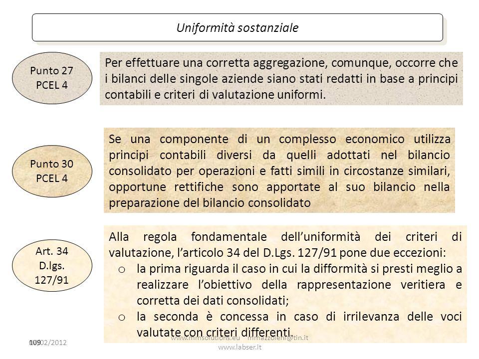 109 Uniformità sostanziale Se una componente di un complesso economico utilizza principi contabili diversi da quelli adottati nel bilancio consolidato