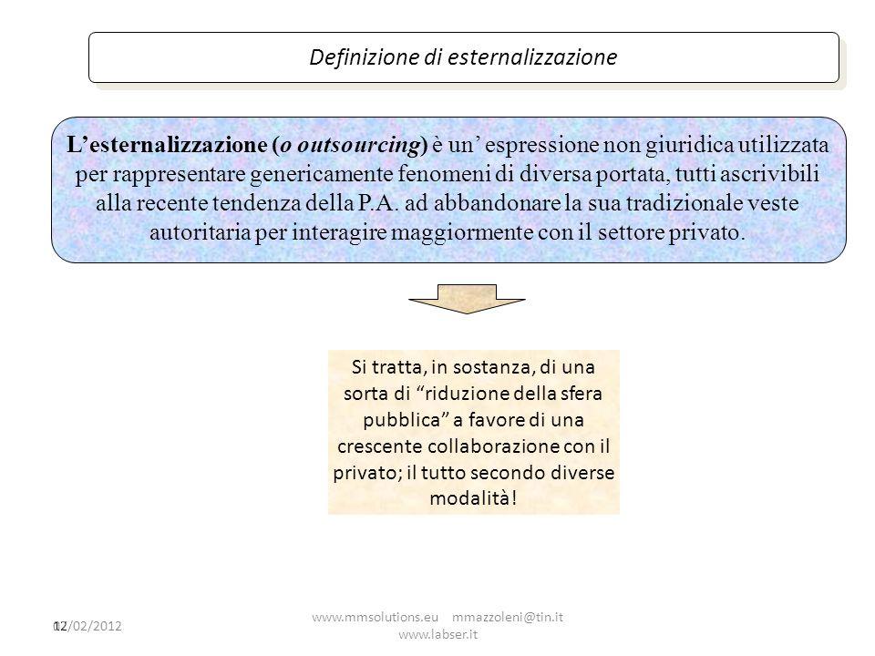 12 Definizione di esternalizzazione Lesternalizzazione (o outsourcing) è un espressione non giuridica utilizzata per rappresentare genericamente fenom