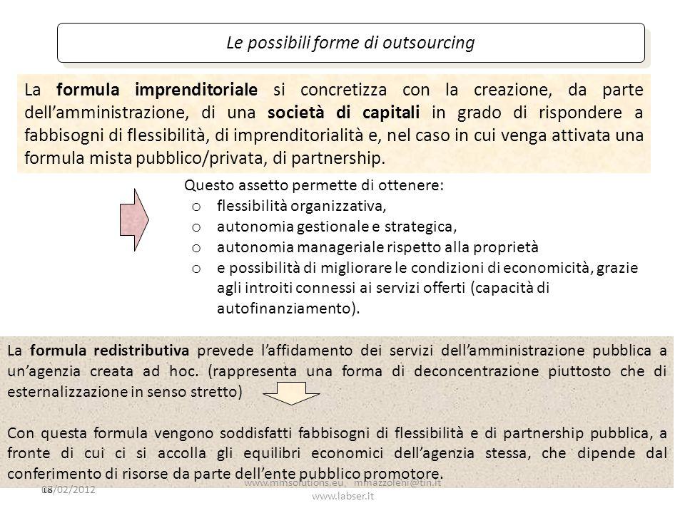 18 Le possibili forme di outsourcing Questo assetto permette di ottenere: o flessibilità organizzativa, o autonomia gestionale e strategica, o autonom
