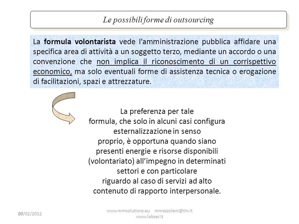20 Le possibili forme di outsourcing La formula volontarista vede lamministrazione pubblica affidare una specifica area di attività a un soggetto terz