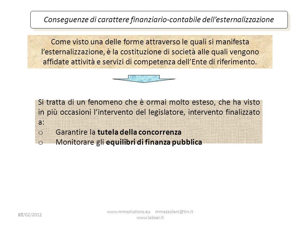 21 Conseguenze di carattere finanziario-contabile dellesternalizzazione Come visto una delle forme attraverso le quali si manifesta lesternalizzazione