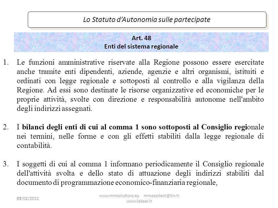 51 Lo Statuto dAutonomia sulle partecipate Art. 48 Enti del sistema regionale 1.Le funzioni amministrative riservate alla Regione possono essere eserc