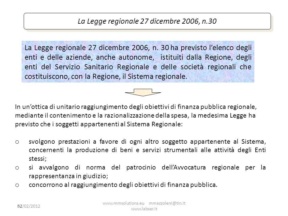 52 La Legge regionale 27 dicembre 2006, n.30 La Legge regionale 27 dicembre 2006, n. 30 ha previsto lelenco degli enti e delle aziende, anche autonome
