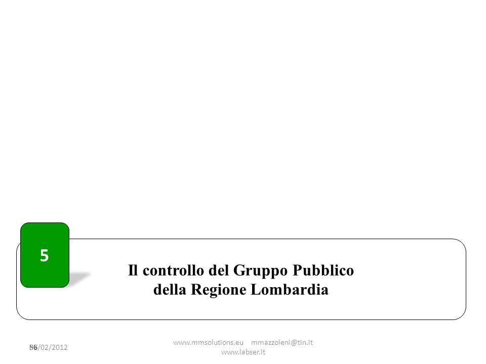 Il controllo del Gruppo Pubblico della Regione Lombardia 56 5 07/02/2012 www.mmsolutions.eu mmazzoleni@tin.it www.labser.it