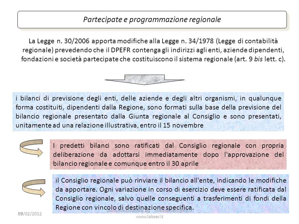 59 Partecipate e programmazione regionale La Legge n. 30/2006 apporta modifiche alla Legge n. 34/1978 (Legge di contabilità regionale) prevedendo che