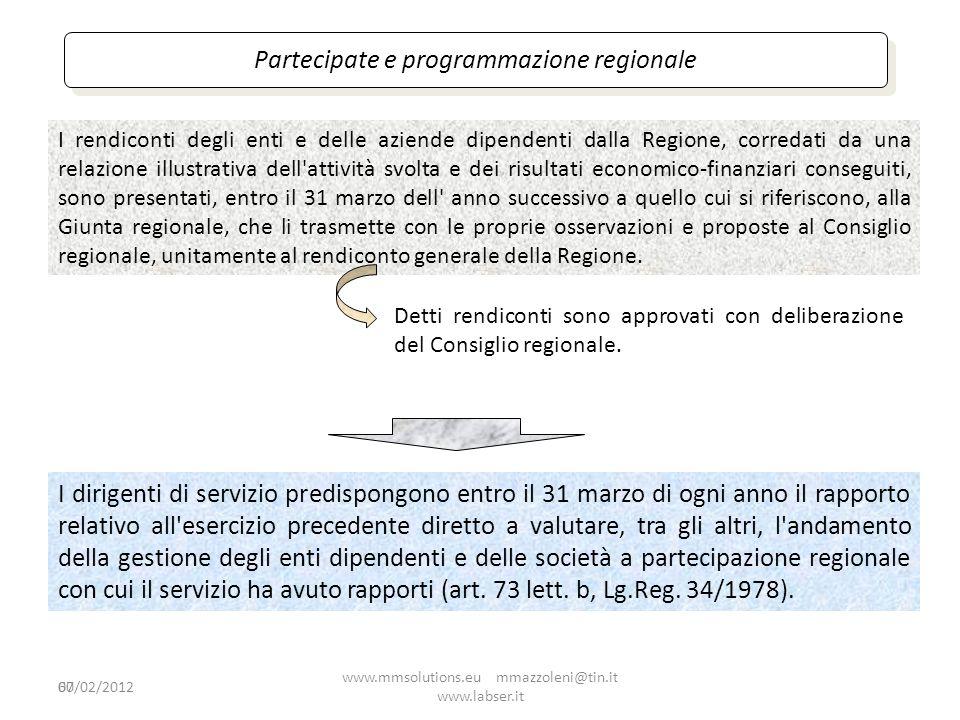 60 Partecipate e programmazione regionale I dirigenti di servizio predispongono entro il 31 marzo di ogni anno il rapporto relativo all'esercizio prec