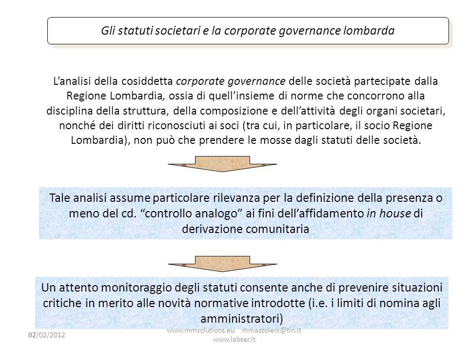 62 Gli statuti societari e la corporate governance lombarda Lanalisi della cosiddetta corporate governance delle società partecipate dalla Regione Lom